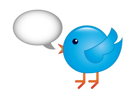 blue bird with bubble thought over white background. vector