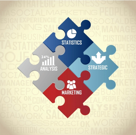 competitor analysis illustration with puzzles, vintage. vector