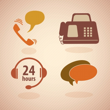 Customer Service vintage icons.With reto colors. Vector