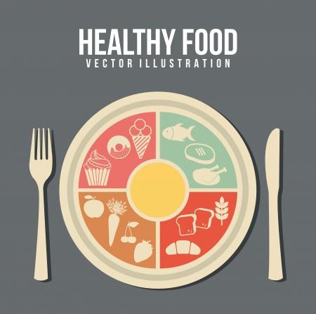 healthy food concept, vintage style. vector illustration