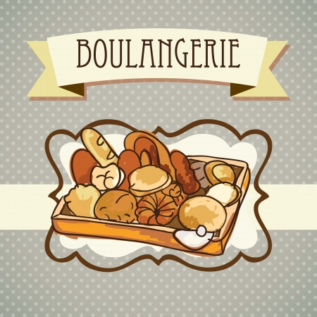 Paris Bakery (Boulangerie) different products. On vintage background.