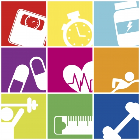 fitness icons over colorful squares. vector illustration