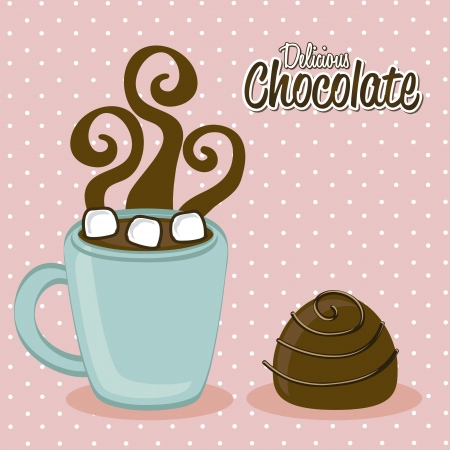 hot chocolated over pink background. vector illustration
