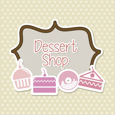 cakes icons over beige background. vector illustration