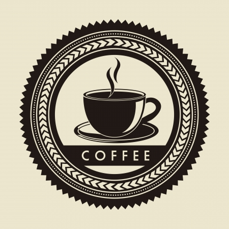coffee label over beige background. vector illustration