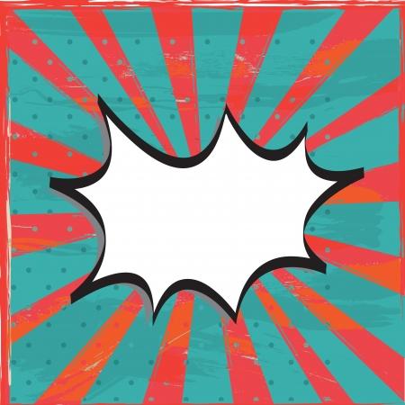 Vintage boom over red and blue old lines background illustration