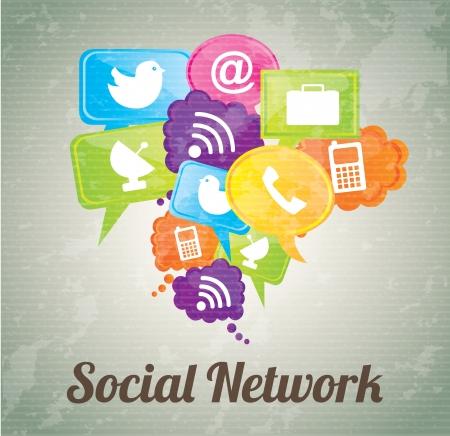 Social network icons over vintage background illustration