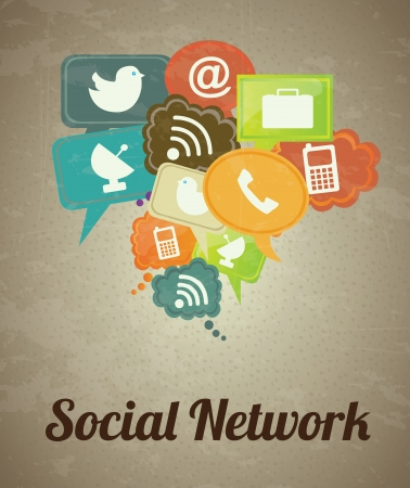Illustration for Social network icons over vintage background illustration - Royalty Free Image