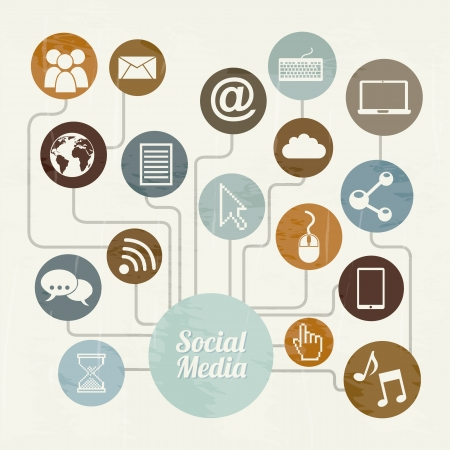 social media vintage over beige background illustration