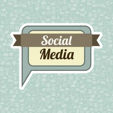 social media vintage over blue background illustration