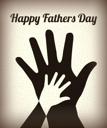 Happy Fathers day with two hands over vintage background