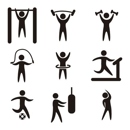 fitness icons over white background. vector illustration