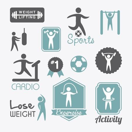 fitness labels over white background. vector illustration