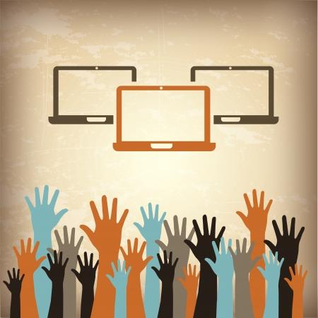 laptops and hands over vintage background illustration