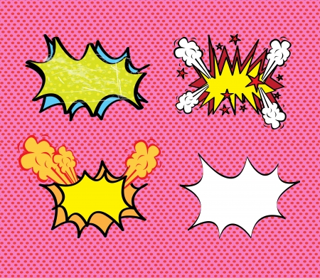 comics icons over pink background illustration