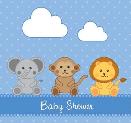 Baby shower card over blue background illustrationのイラスト素材