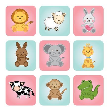 Photo pour animal babies over white background illustration  - image libre de droit