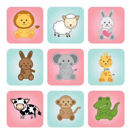 Photo for animal babies over white background illustration  - Royalty Free Image