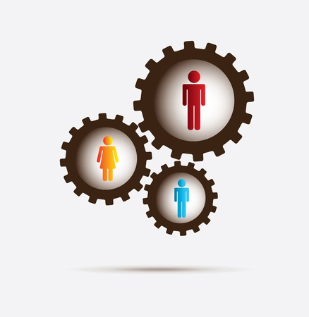 gears and people over white background vector illustration
