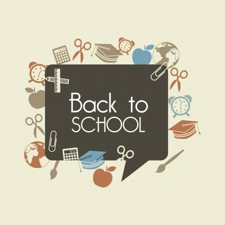 Foto de back to school over brown background vector illustration  - Imagen libre de derechos