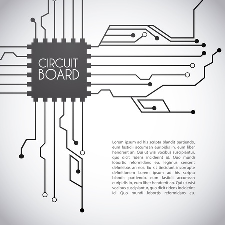 circuit board design over gray background vector illustration