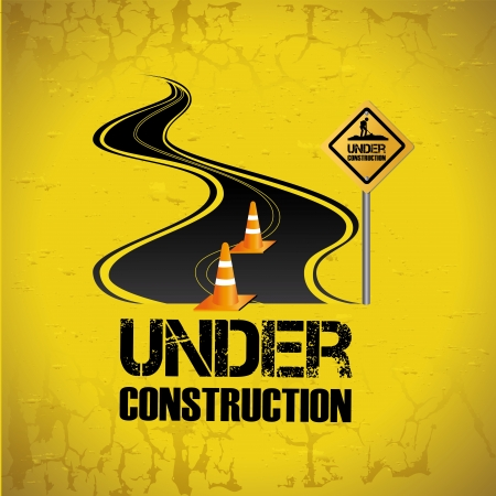 under construction design over yellow background vector illustration