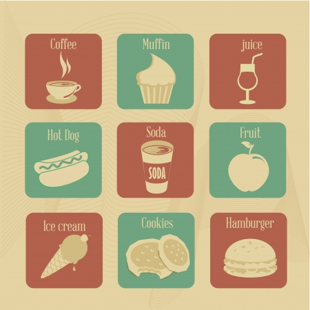 food and drink icons over vintage background vector illustration