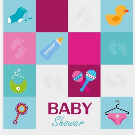 Photo pour baby shower icons over blue background vector illustration - image libre de droit