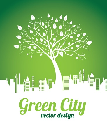 green city over green background vector illustration