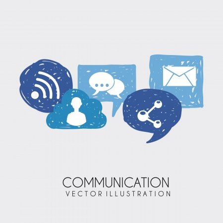 communication icons over white background