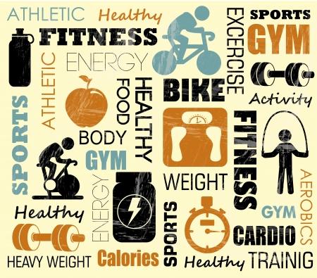Foto de fitness pattern over pink background illustration - Imagen libre de derechos