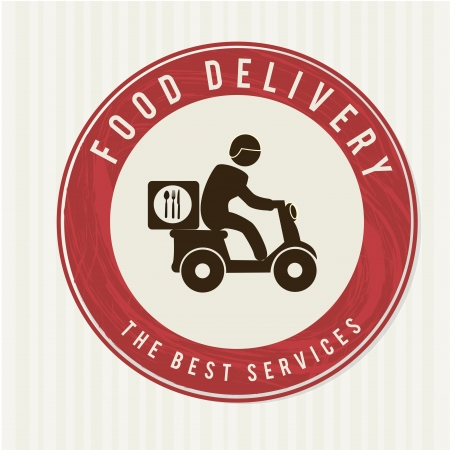food delivery over white background vector illustration