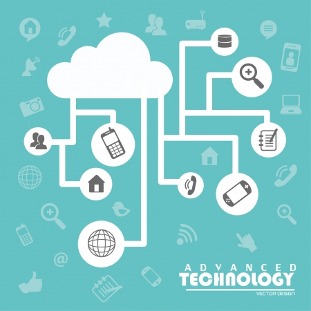 Illustration pour advanced technology over blue background vector illustration - image libre de droit