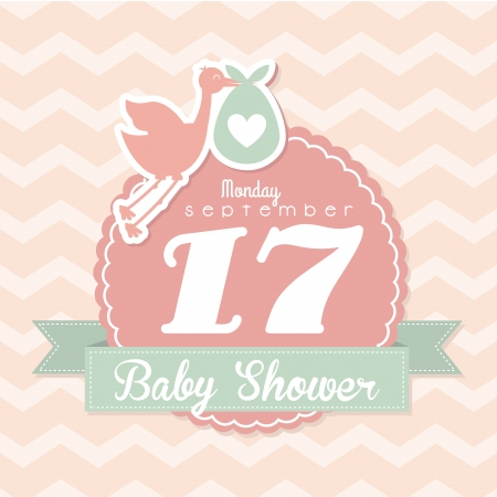 Illustration pour baby shower design over pink background vector illustration - image libre de droit