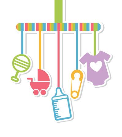 Illustration for baby shower design over white background vector illustration  - Royalty Free Image
