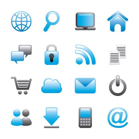 internet icons over white background vector illustration