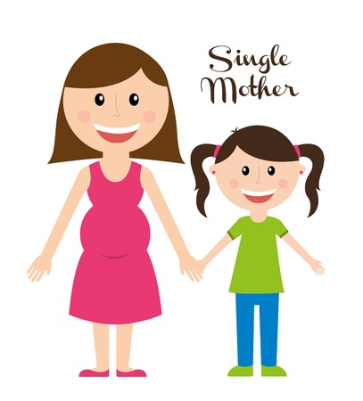Illustration for single mother over white background vector illustration  - Royalty Free Image
