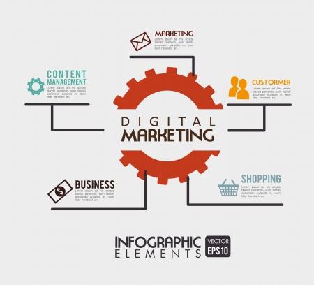digital marketing over beige background vector illustration