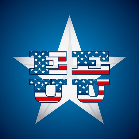USA design over blue background, vector illustration