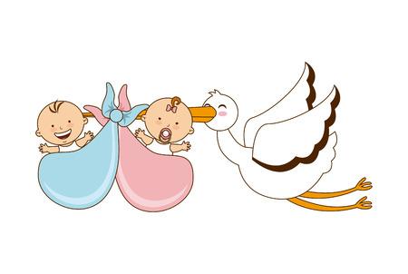 Foto de babies with stork design over white background illustration - Imagen libre de derechos