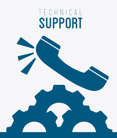Technical support design over white background, vector illustration.