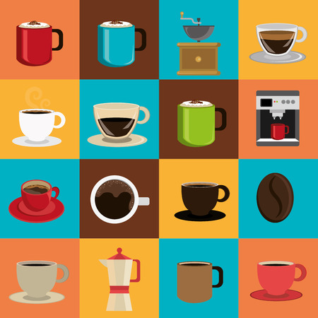 Coffee design over colorful background, vector illustration.