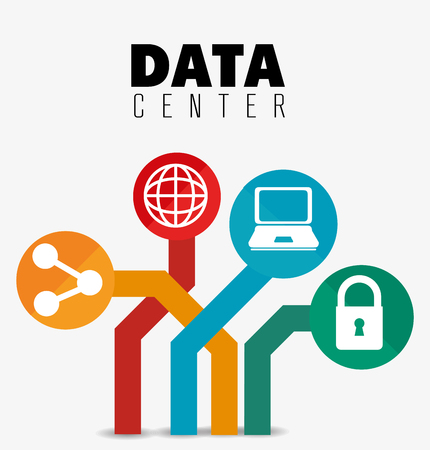 Illustration for Data center security system graphic with icons, vector illustration design - Royalty Free Image