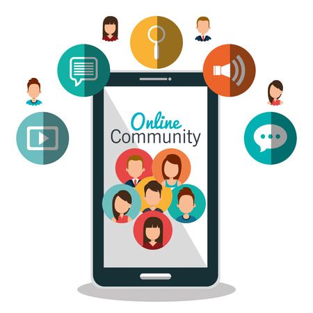 Illustration for online community design, vector illustration eps10 graphic - Royalty Free Image