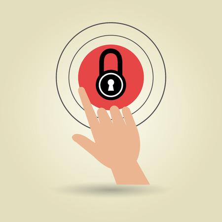 human hand selecting padlockisolated icon design, vector illustration  graphic