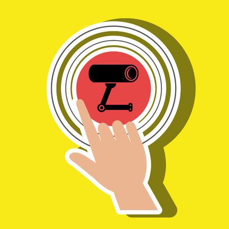 human hand selecting camera cctvisolated icon design, vector illustration  graphic