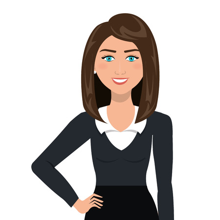Illustration for Young business woman with elegant suit cartoon, vector illustration graphic. - Royalty Free Image