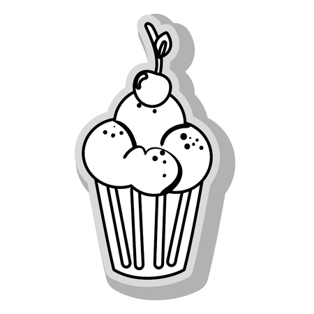 Cupcake delicious desert Isol in black and white colors, isolated flat icon.