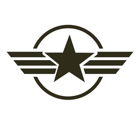 Ilustración de military star emblem isolated icon vector illustration design - Imagen libre de derechos