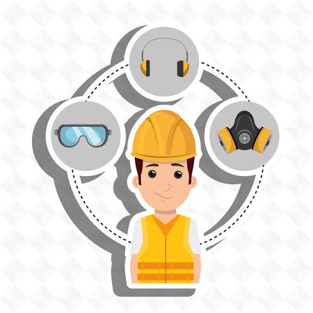 Illustration pour worker equipment protection tool vector illustration design - image libre de droit